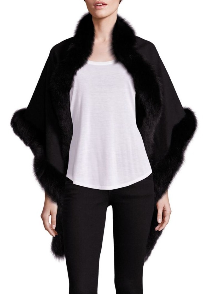 Sofia Cashmere Oblong Fox Fur-Trim Cashmere Wrap