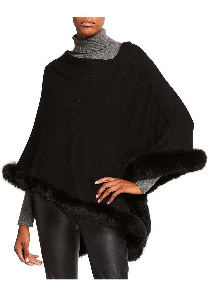 Sofia Cashmere Off-the-Shoulder Cashmere Poncho with Fur Trim