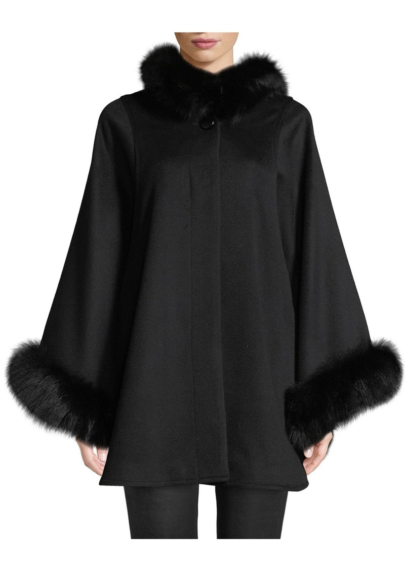 Sofia Cashmere Oversized Fur-Trimmed Hooded Cape