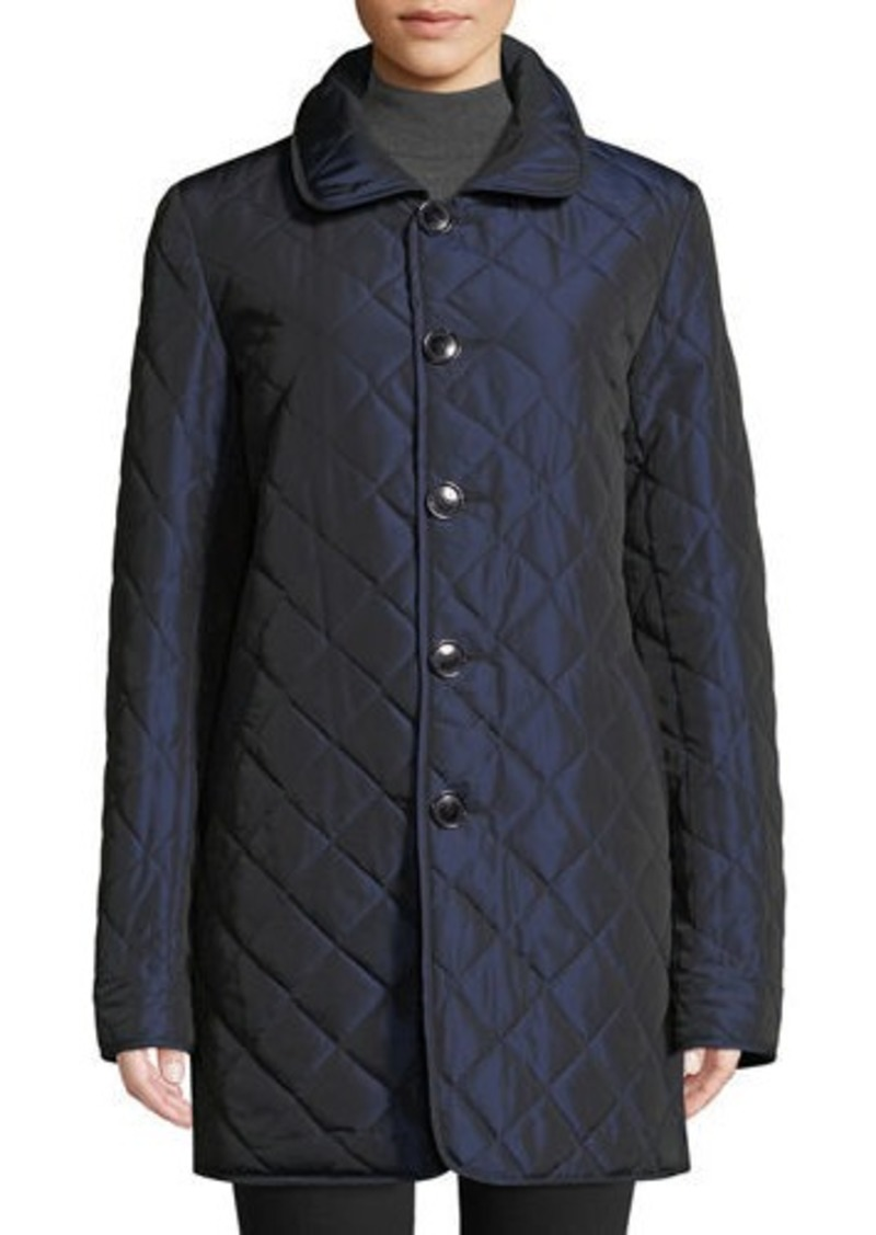 Sofia Cashmere Reversible Diamond-Quilted Rain Coat