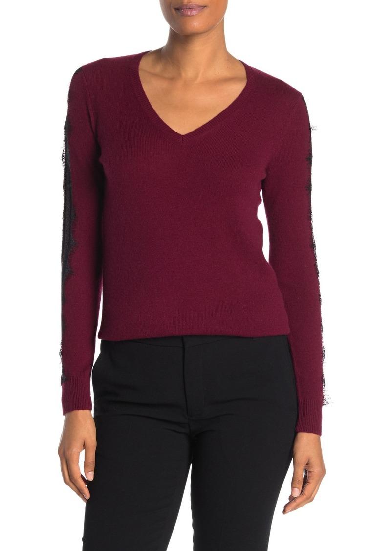 Sofia Cashmere Scalloped Lace Trim Cashmere Sweater