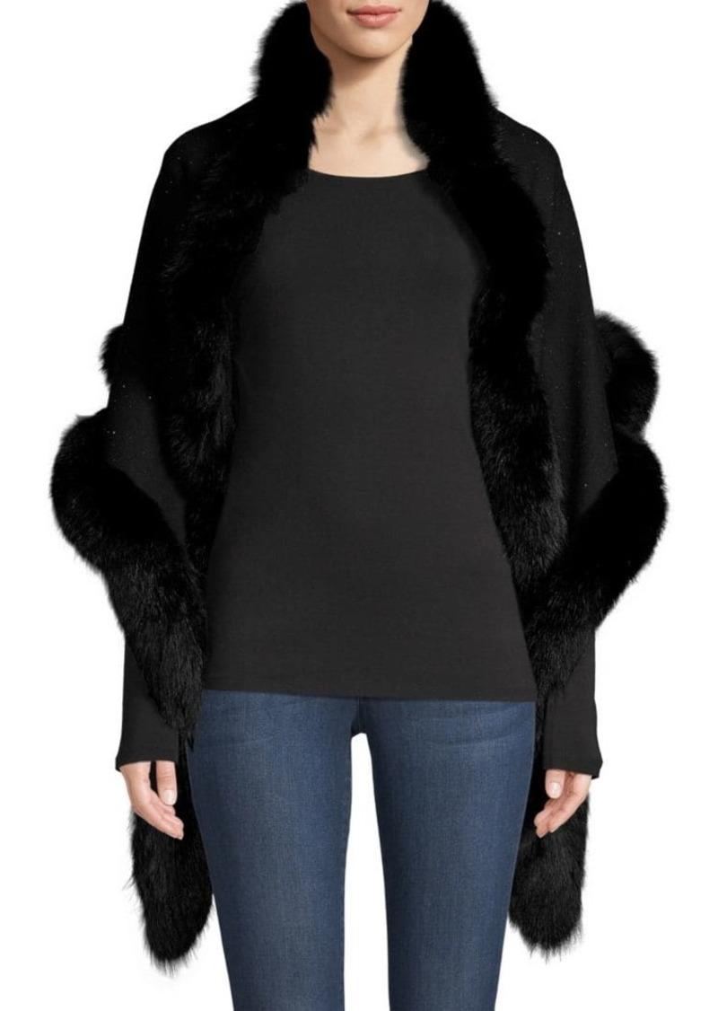 Sofia Cashmere Sequin Fox Fur-Trim Cashmere & Silk Shawl