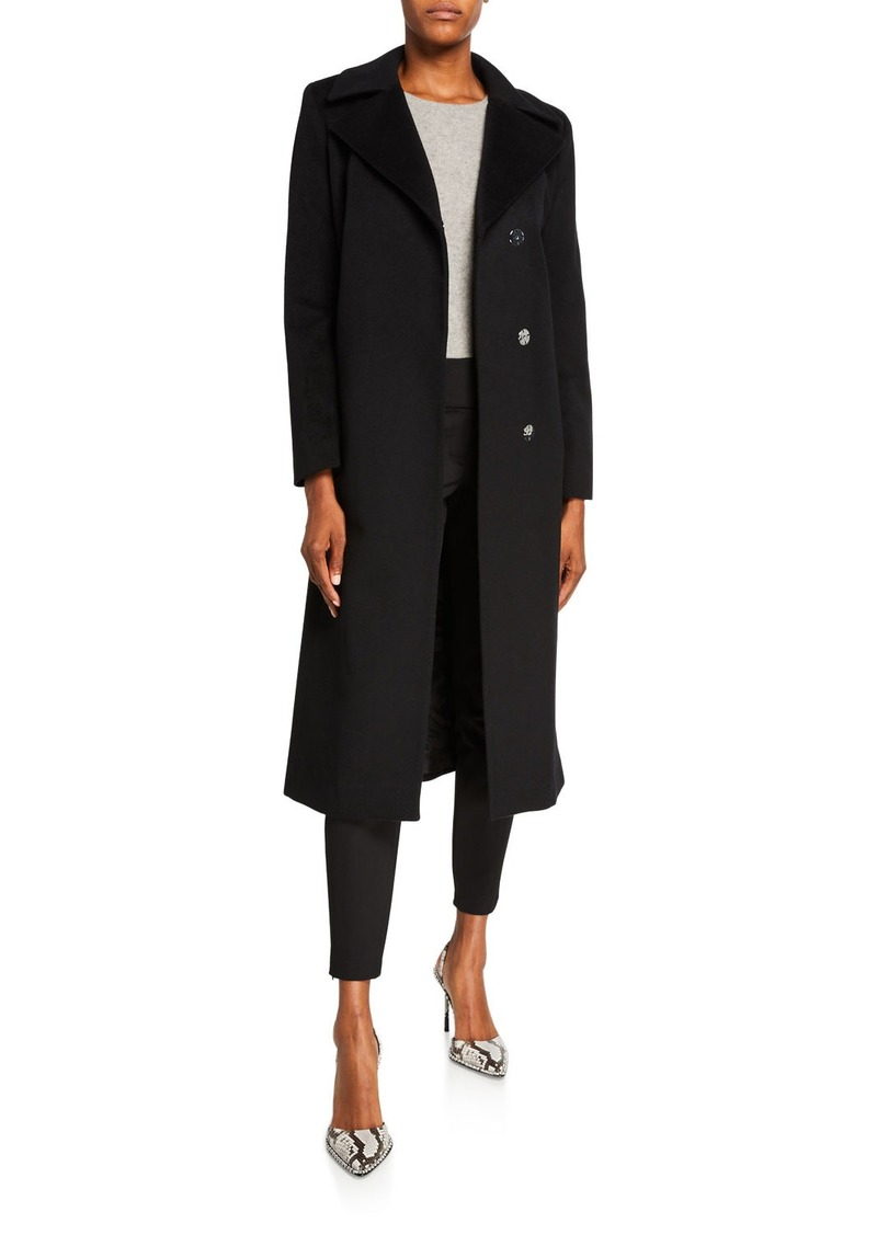 Sofia Cashmere Single-Breasted Notch-Lapel Coat
