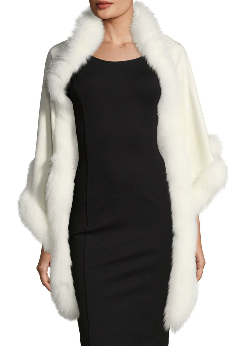 Sofia Cashmere Cashmere Triangle Fox Trim Wrap