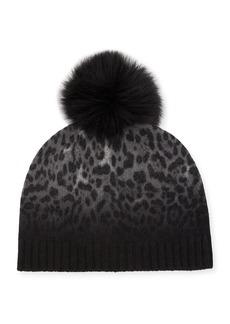 Sofia Cashmere Dip Dye Animal Knit Cashmere Beanie Hat w/ Fur Pompom