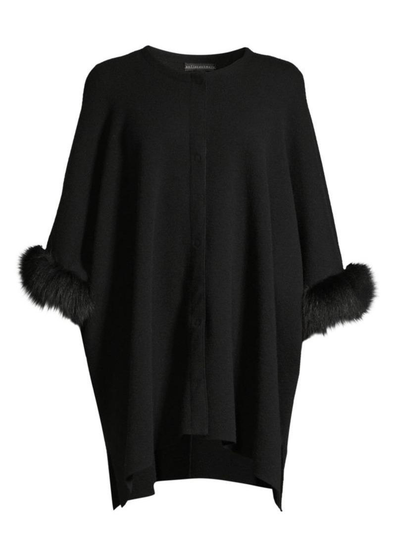 Sofia Cashmere Fox Fur & Cashmere Knit Cape