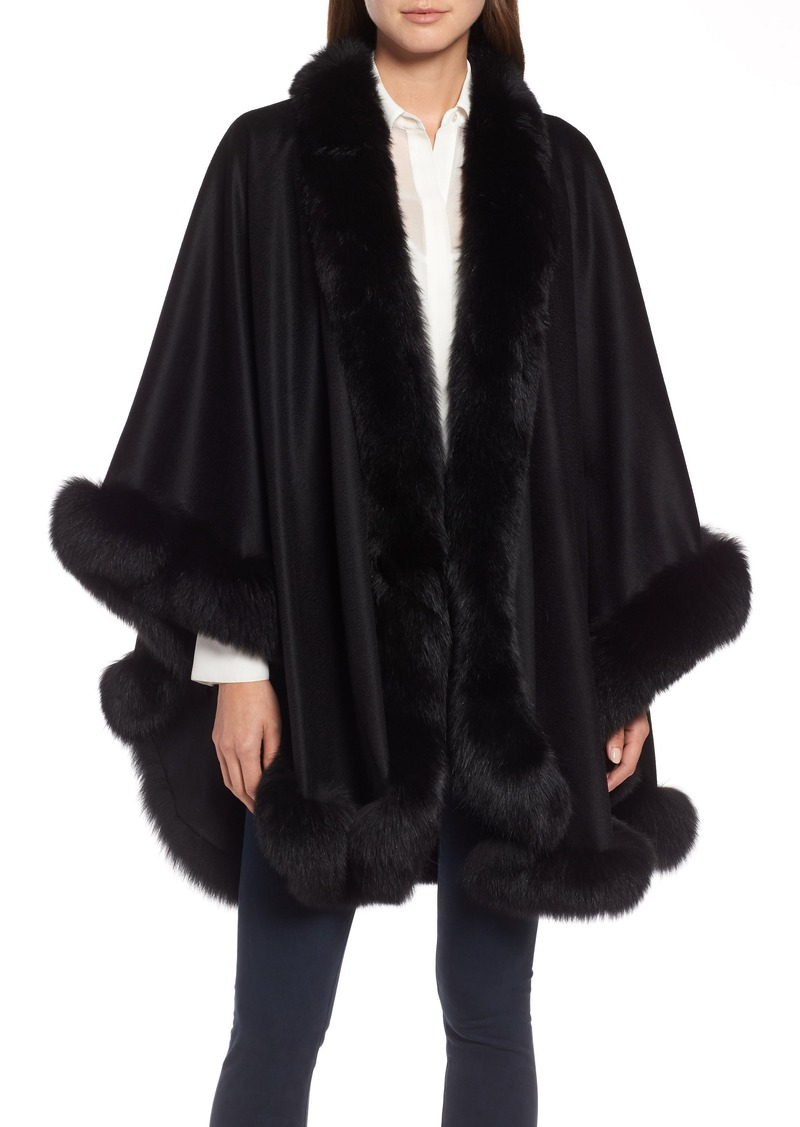 Sofia Cashmere Genuine Fox Fur Trim Cashmere Cape