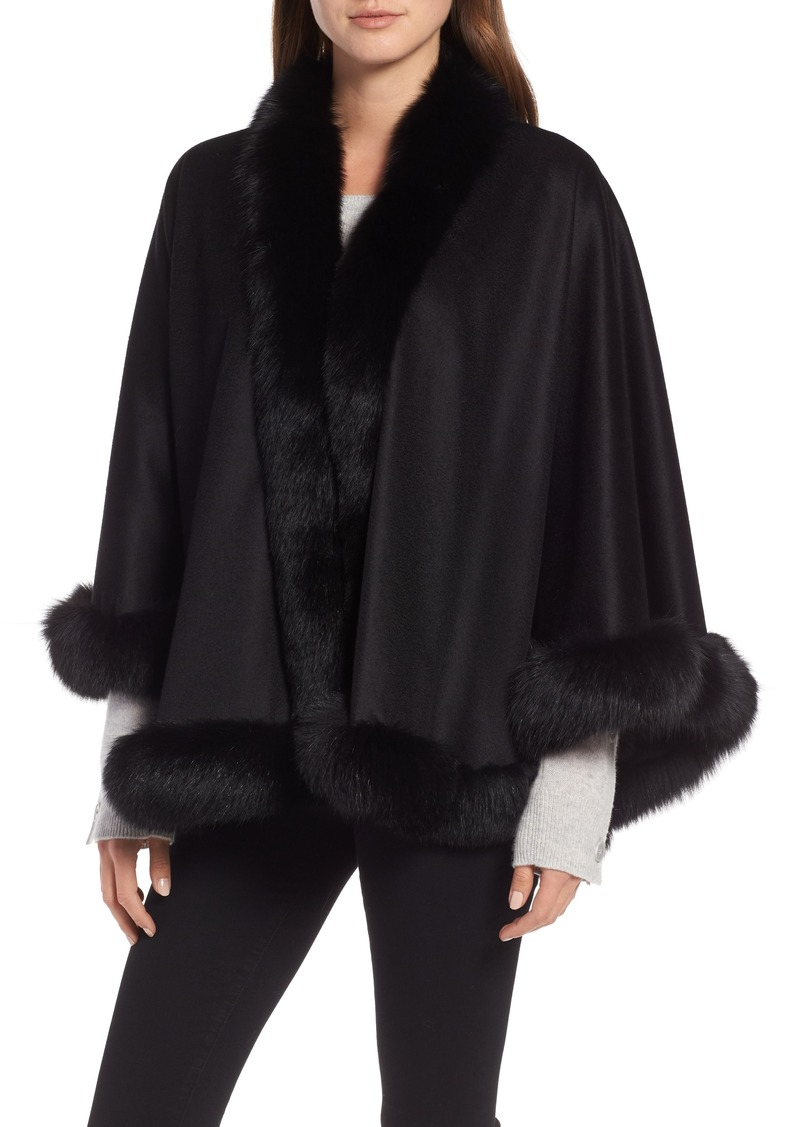 Sofia Cashmere Petite Genuine Fox Fur Trim Cashmere Cape