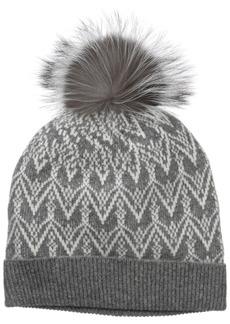 Sofia Cashmere Women's 100% Cashmere Fairisle Hat with Fox Fur Pom Nightmist Grey