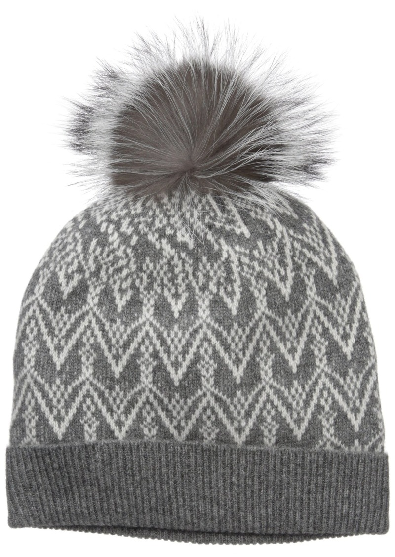 Sofia Cashmere Women's 100% Cashmere Fairisle Hat with Fox Fur Pom Nightmist Grey