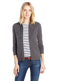 Sofia Cashmere Women's Cashmere Hi Lo Hoodie with Rib Detail  XS