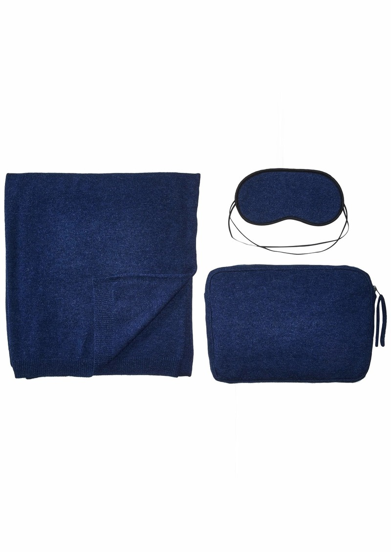 Sofia Cashmere Women's Cashmere Jersey Knit Travel Set with Zippered Bag navy ONE SIZE