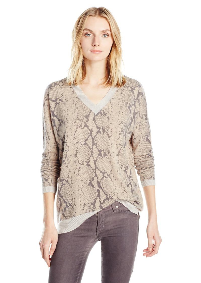 Sofia Cashmere Women's Cashmere Python Print V Neck Sweater  M