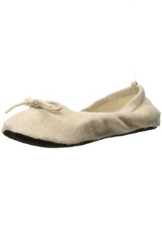 Sofia Cashmere Women's Cashmere Travel Set-Ballet Slippers oatmeal + ivory Large/X-Large