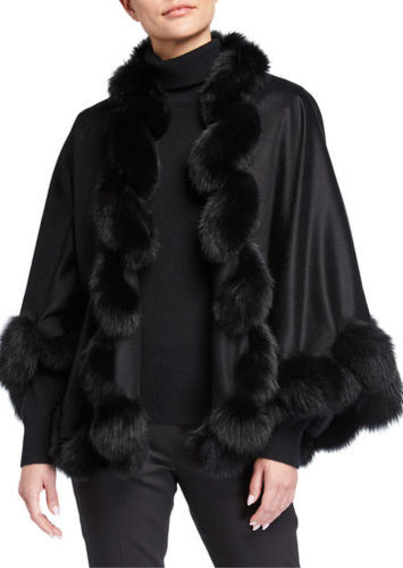 Sofia Cashmere Whipstitch Fox Fur Trim Cashmere U Cape