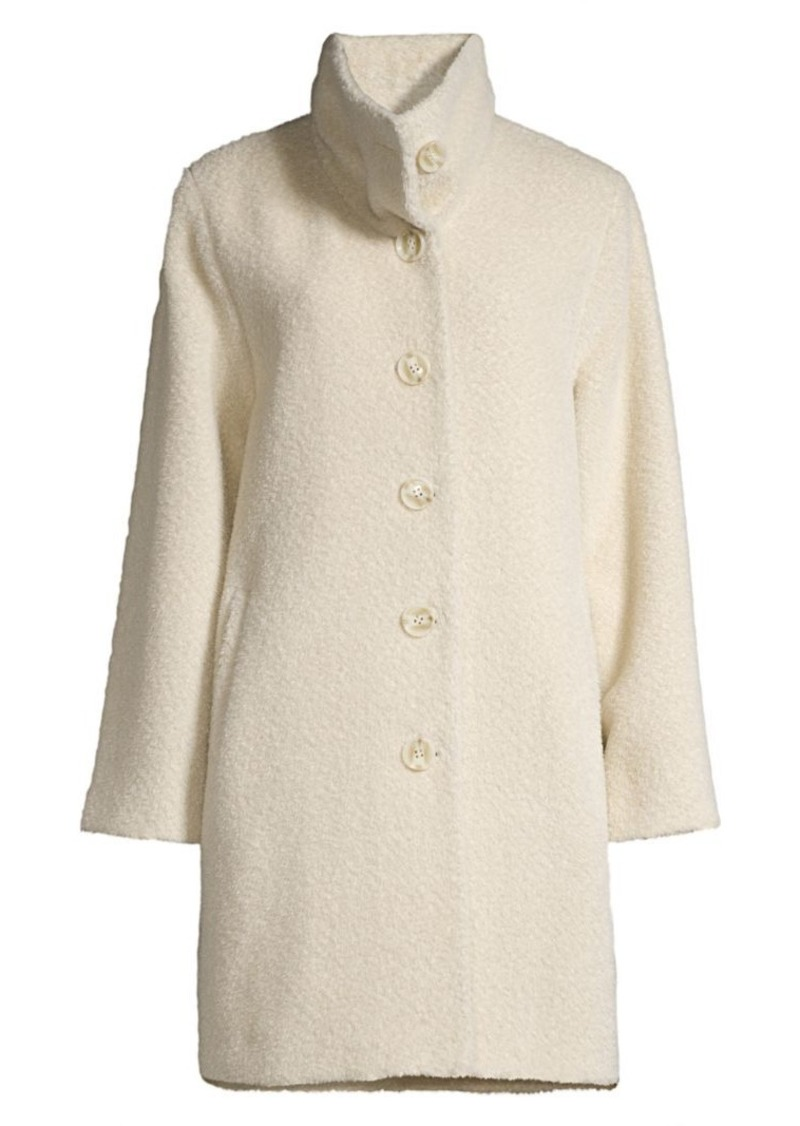 Sofia Cashmere Wool & Alpaca-Blend Funnel Neck Drop Shoulder Peacoat