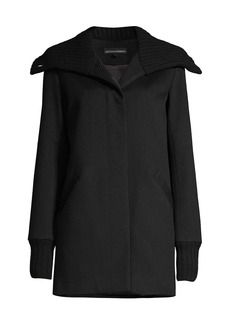 Sofia Cashmere Wool & Cashmere Ribbed Collar Coat