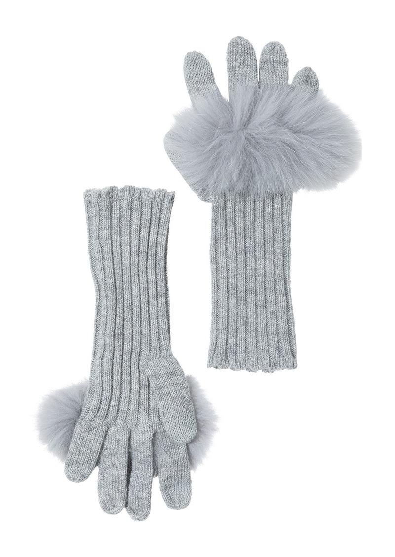 Sofia Cashmere Genuine Fox Fur Trim Wool & Cashmere Touch Tech Gloves