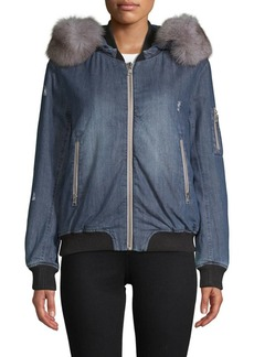 Soia & Kyo Branca Fox Fur-Trimmed Denim Bomber Jacket
