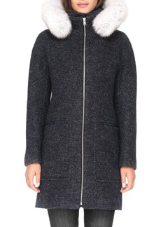 Soia & Kyo Fox Fur-Trim Puffer Coat
