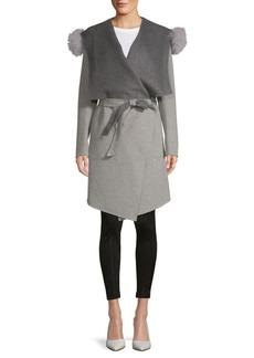 Soia & Kyo Fox Fur-Trimmed Belted Coat