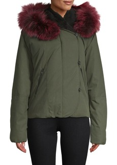 Soia & Kyo Fox Fur-Trimmed Zip-Front Jacket