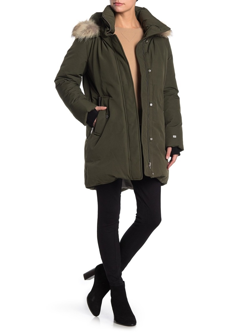Soia & Kyo Genuine Coyote Fur Trim Hooded Coat