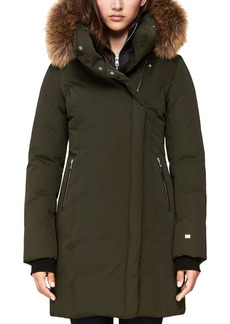 Soia & Kyo Alsina Fur Trim Asymmetric Front Down Coat - 100% Exclusive