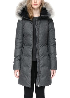 Soia & Kyo Hooded Down Coat with Removable Genuine Coyote Fur Trim