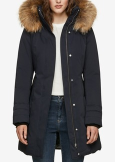 Soia & Kyo Hooded Fur-Trim Coat