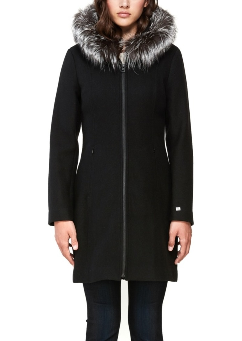 Soia & Kyo Hooded Fur-Trim Coat, Created for Macy's