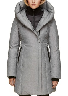 Soia & Kyo Hooded Leather Trim Down Coat
