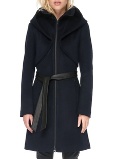 Soia & Kyo Hooded Wool Blend Belted Coat