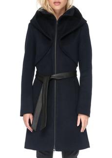 Soia & Kyo Hooded Wool Blend Belted Coat