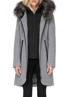 Soia & Kyo Hooded Wool Blend Coat with Detachable Genuine Fox Fur