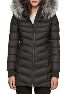 Soia & Kyo Quilted Alanis Jacket with Silver Fox Fur Hood