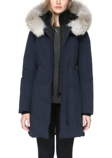 Soia & Kyo 'Salma' Genuine Coyote Fur Trim Down Parka with Inset Bib