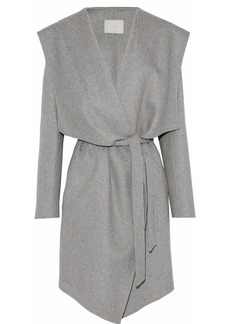 Soia & Kyo Woman Belted Wool-blend Hooded Coat Gray