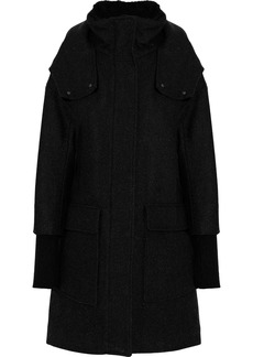 Soia & Kyo Woman Faux Fur-trimmed Brushed Wool-blend Hooded Coat Black