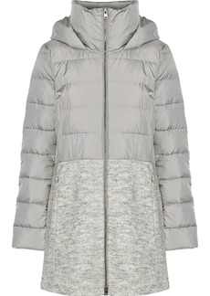 Soia & Kyo Woman Valery Bouclé-paneled Quilted Shell Down Hooded Coat Light Gray