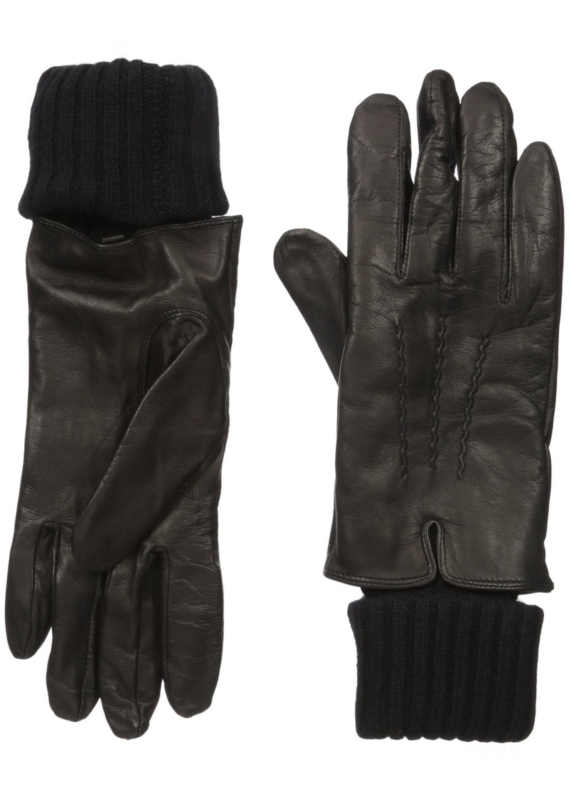 SOIA & KYO Women's Carmel-f6 Leather Glove with Fold-Over Rib Knit Sleeve