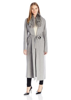 Soia & Kyo Women's Daphne-Fx Double Face Long Wool Wrap Coat with Silver Fox Fur Collar