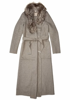 Soia & Kyo Women's Daphne-fx Double Face Long Wool Wrap Coat with Silver Fox Fur Collar