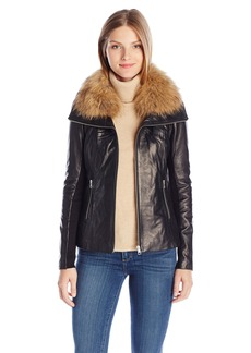 Soia & Kyo Women's Fionna Leather Jacket With Rib Knit Panels and Racoon Fur Collar