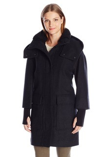 Soia & Kyo Women's Kerriane Diagonal Wool Coat with Hood