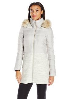 Soia & Kyo Women's Valery-c Mixed Media Wool Coat with Coyoto Fur Trim Hood
