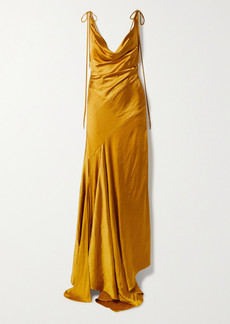 Solace London Aletta Asymmetric Draped Hammered-satin Gown