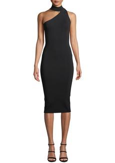 Solace London Annecy Asymmetric Mock-Neck Sleeveless Body-Con Midi Dress