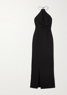 Solace London Danette Crystal-embellished Stretch-crepe Halterneck Maxi Dress