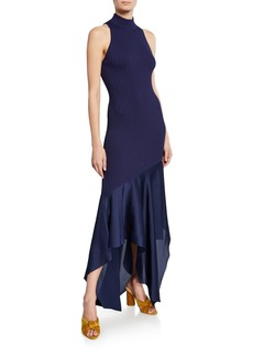 Solace London Dilan High-Neck Sleeveless Combo Dress